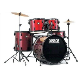BATTERIA PEACE CELEBRITY DP-101-9 -25 WINE RED BRASS CYMBALS