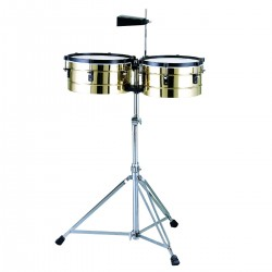 SET TIMBALES PEACE TB-2-1 IN OTTONE CON SUPPORTO