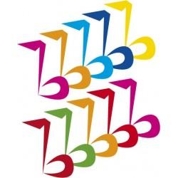 STICKER SWINGTIME SERIE KIDS set di 10 note musicali vari colori, h 20 cm cad DSB0002